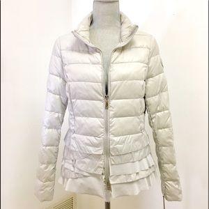 Tahari Zoey Ruffled Puffer Short Coat